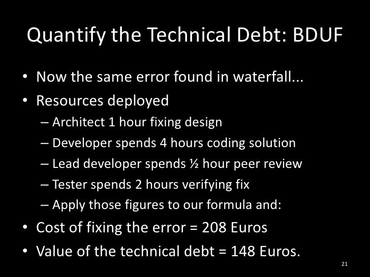 Quantify the Technical Debt: BDUF<br />Now the same error found in waterfall...<br />Resources deployed<br />Architect 1 h...