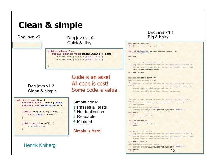 Clean & simple                                                                                         Dog.java v1.1Dog.ja...