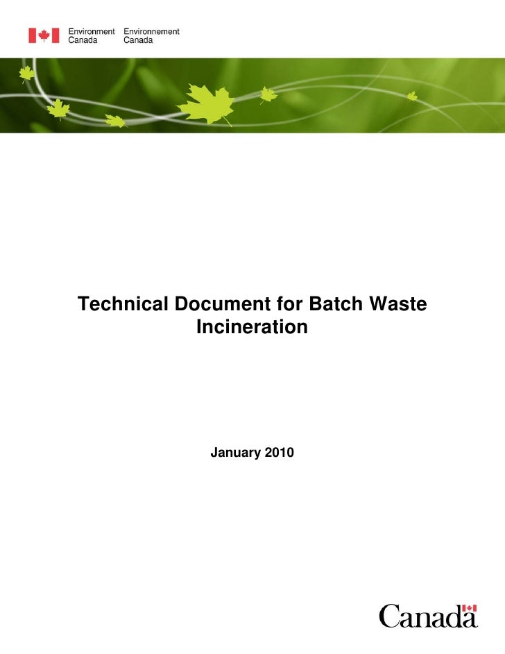 Technical Document for Batch Waste             Incineration                 January 2010