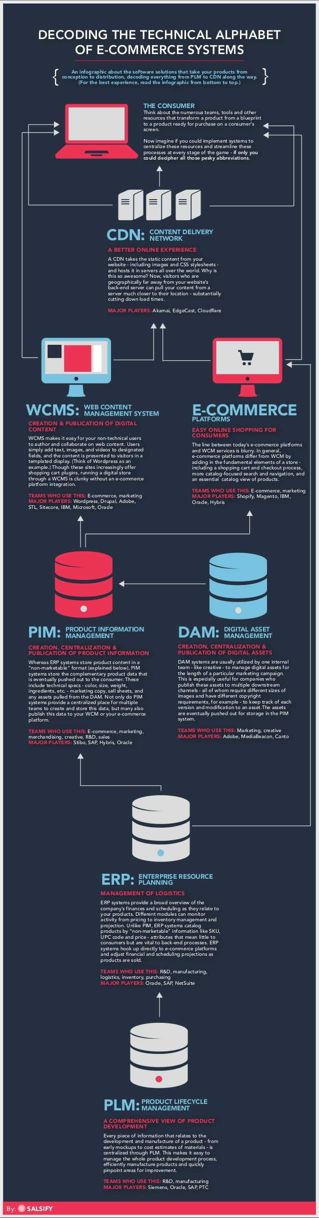 DECODING THE TECHNICAL ALPHABET OF E-COMMERCE SYSTEMS An infographic about the software solutions that take your products ...