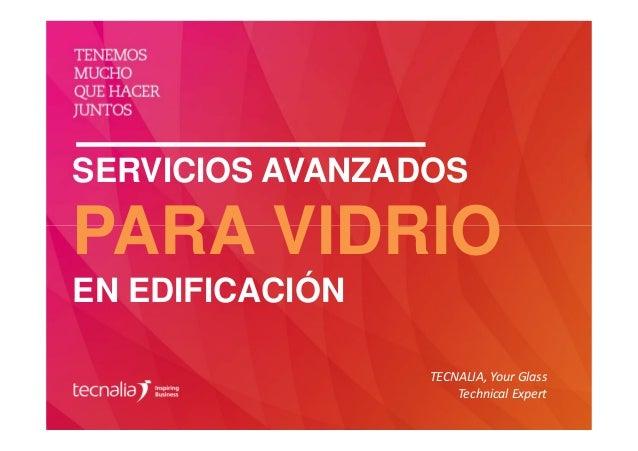 SERVICIOS AVANZADOS PARA VIDRIO EN EDIFICACIÓN TECNALIA, Your Glass Technical Expert