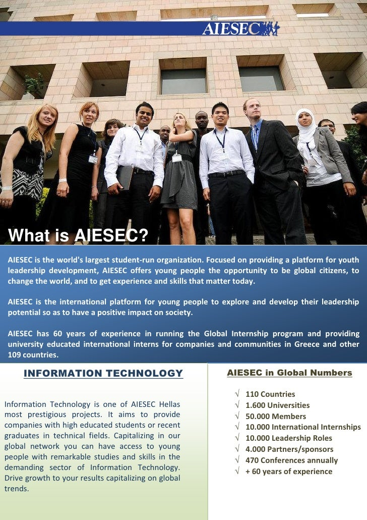 What is AIESEC? AIESEC is the worlds largest student‐run organization. Focused on providing a platform for youth leadershi...