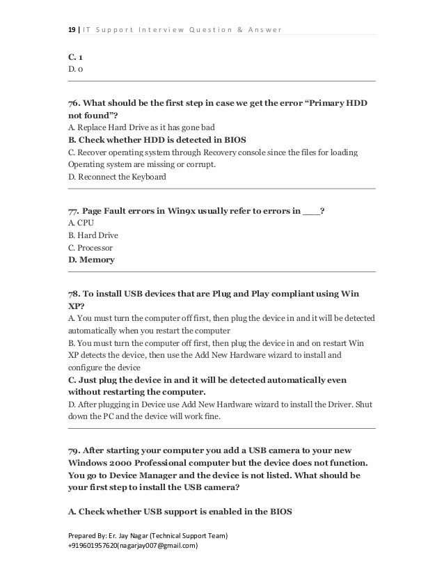 technical support interview questions and answers pdf
