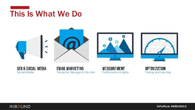 @iPullRank #INBOUND15 This Is What We Do Earned Media Taking the Message to the User Performance Insights Testing and Lear...