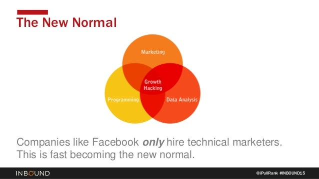 @iPullRank #INBOUND15 The New Normal Companies like Facebook only hire technical marketers. This is fast becoming the new ...