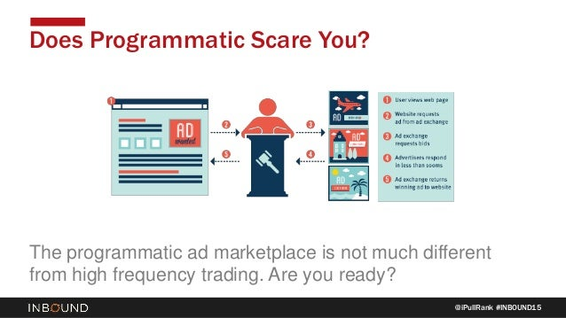 @iPullRank #INBOUND15 Does Programmatic Scare You? The programmatic ad marketplace is not much different from high frequen...