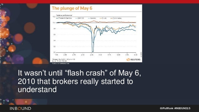 "@iPullRank #INBOUND15 It wasn't until ""flash crash"" of May 6, 2010 that brokers really started to understand"