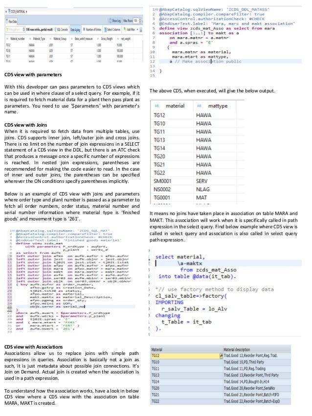Technical Overview of CDS View - SAP HANA Part II
