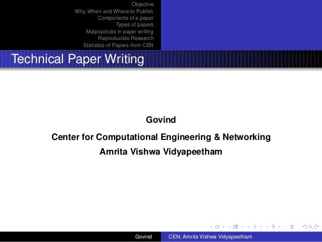 Helpful hints for technical paper writing