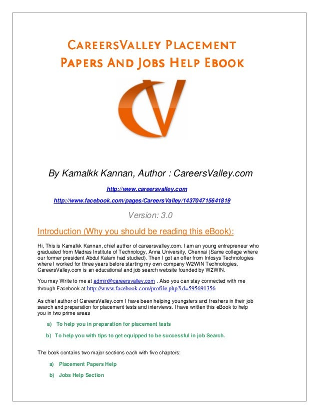 Placement papers careersvalley placement papers and jobs help ebook by kamalkk kannan fandeluxe Choice Image