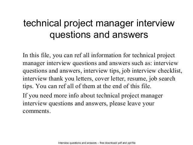 interview questions and answers free download pdf and ppt file technical project manager interview - It Manager Interview Questions And Answers