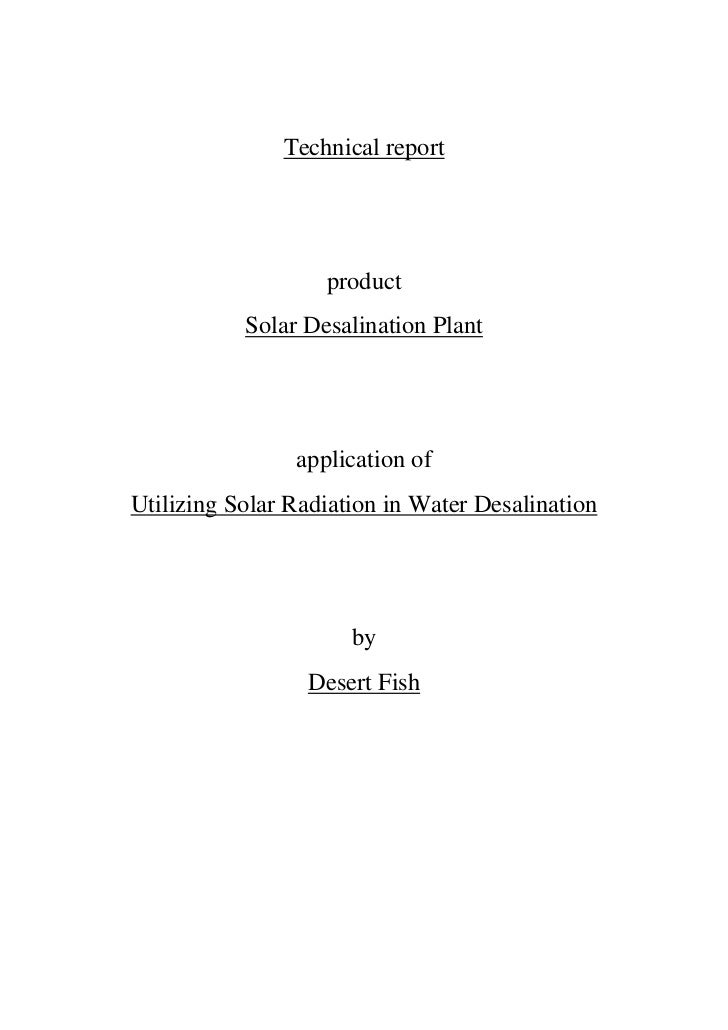 Technical report                   product           Solar Desalination Plant                application ofUtilizing Solar...