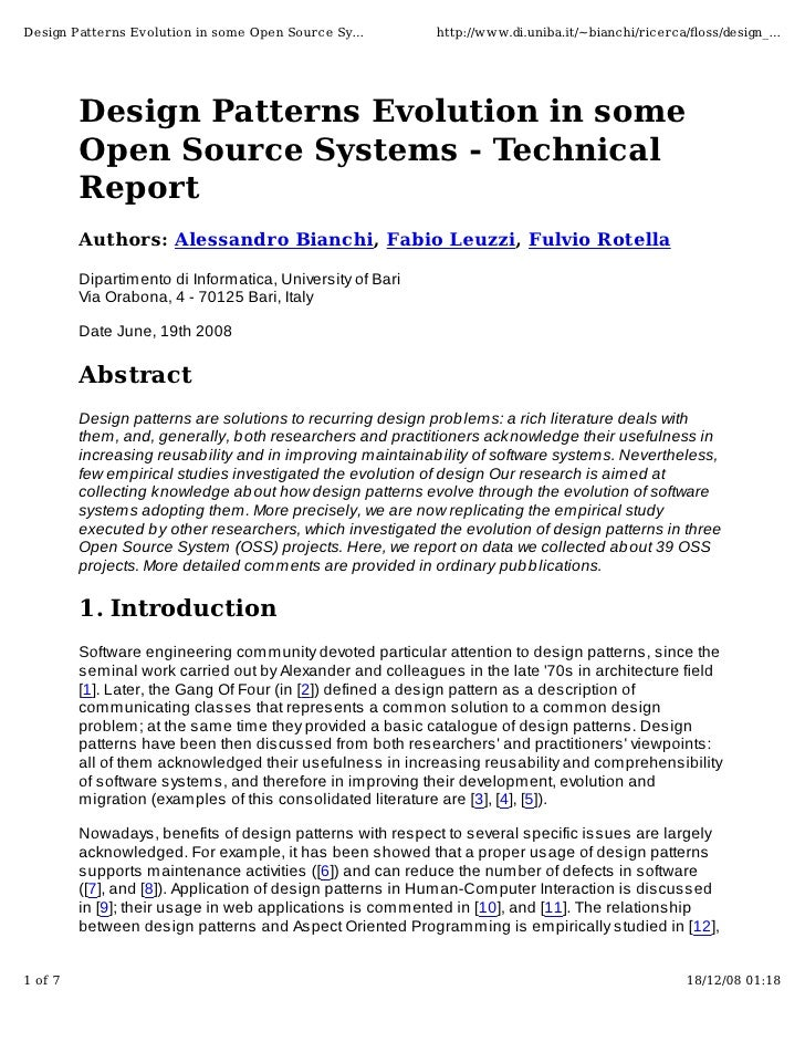 Design Patterns Evolution in some Open Source Sy...         http://www.di.uniba.it/~bianchi/ricerca/floss/design_...       ...