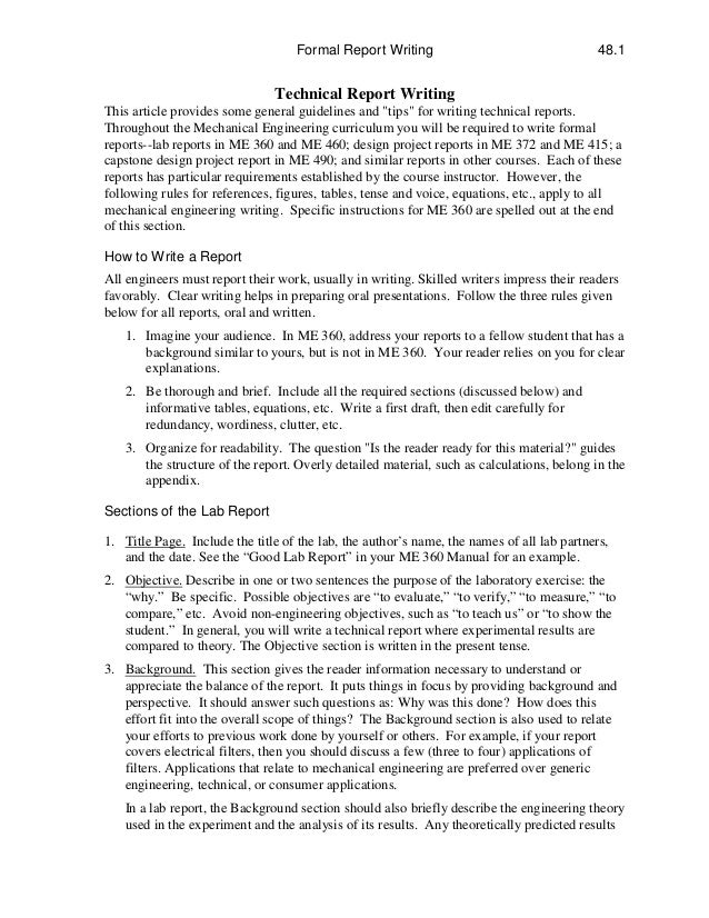 technical report writing topics