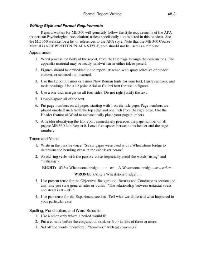 3. Formal Report ...