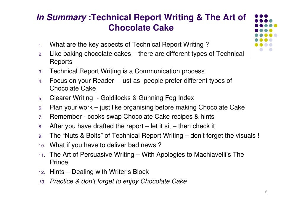 Technical Report Writing - Chocolate Cake K Christian