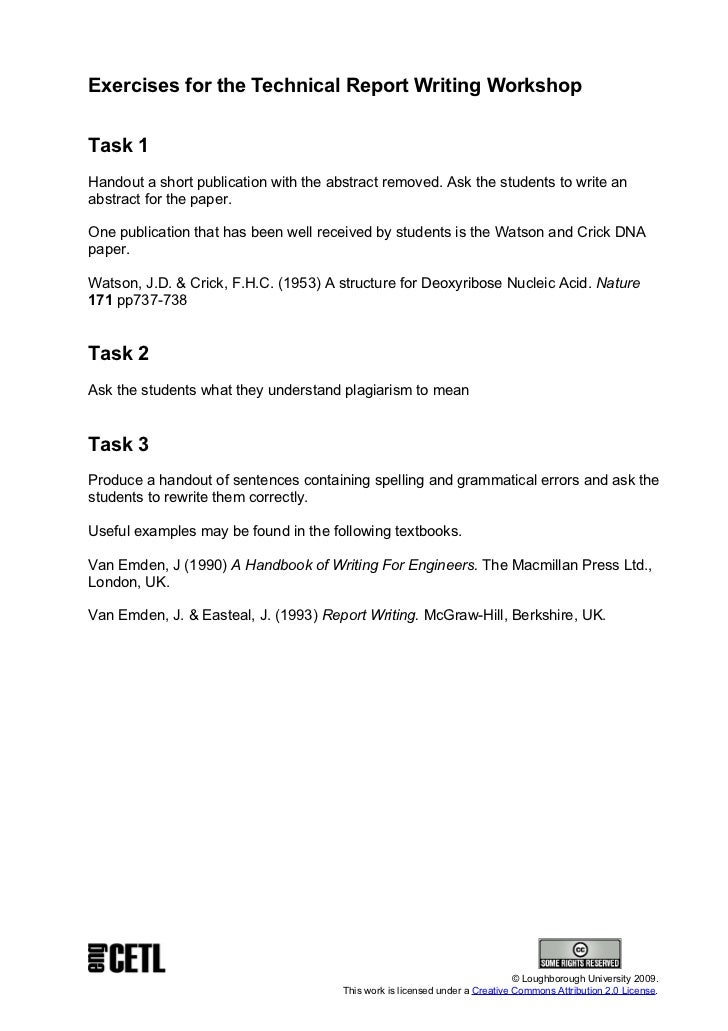 22. Exercises For The Technical Report Writing ...