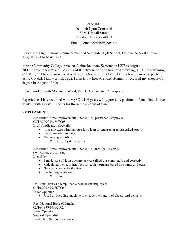 Technical Resume