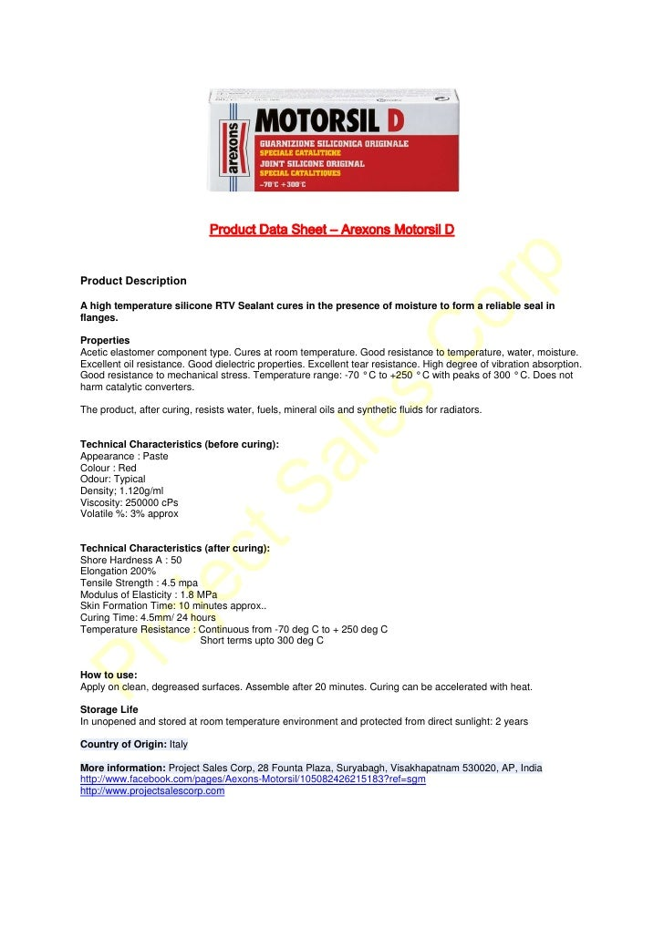 Technical & Safety data sheet arexons motorsil d - original red