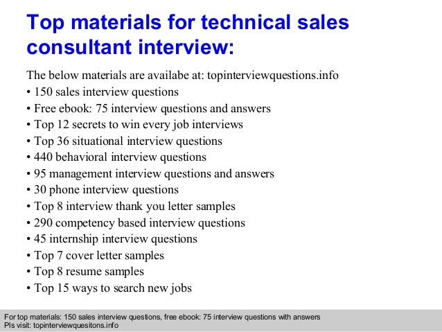 Technical sales consultant interview questions and answers