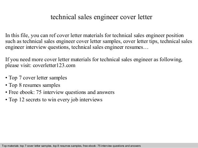 Technical sales engineer cover letter – Sales Cover Letters