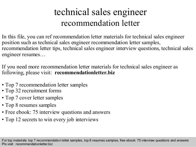 Technical Sales Engineer Recommendation Letter