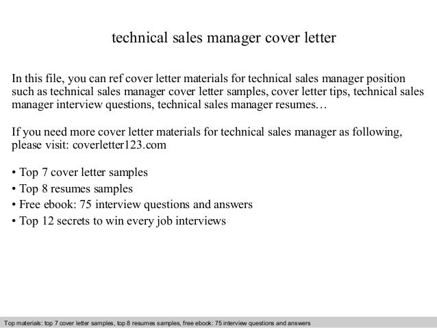 Technical Sales Manager Cover Letter In This File You Can Ref Materials For