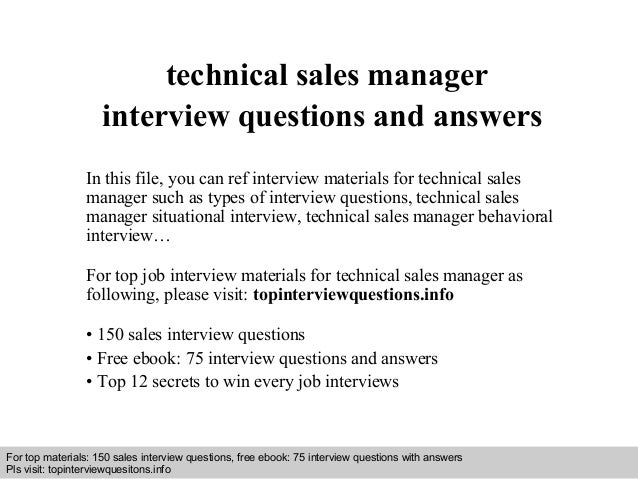 Technical sales manager interview questions and answers