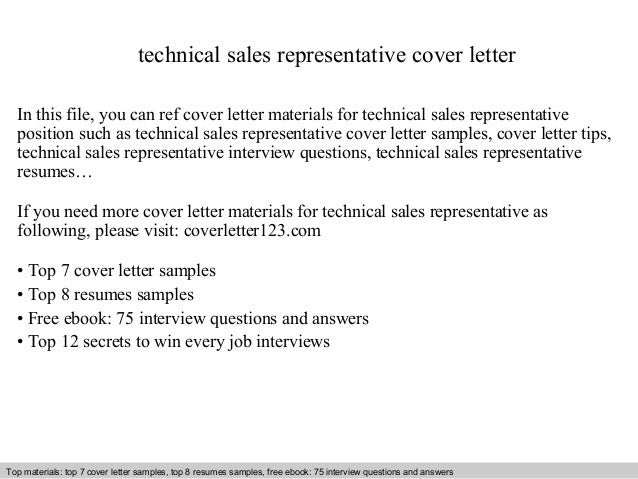 Technical sales representative cover letter