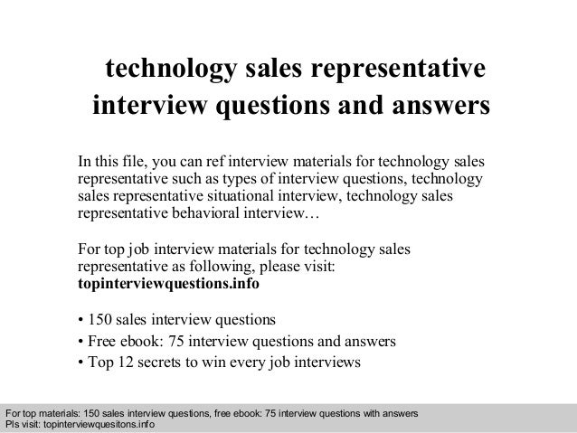 Technical sales representative interview questions and answers