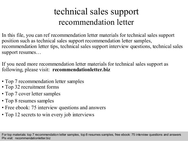 technical sales support  recommendation letter  In this file, you can ref recommendation letter materials for technical sa...