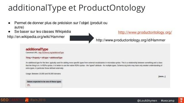 10 0#seocamp@LoukilAymen additionalType et ProductOntology http://www.productontology.org/ ● Permet de donner plus de préc...