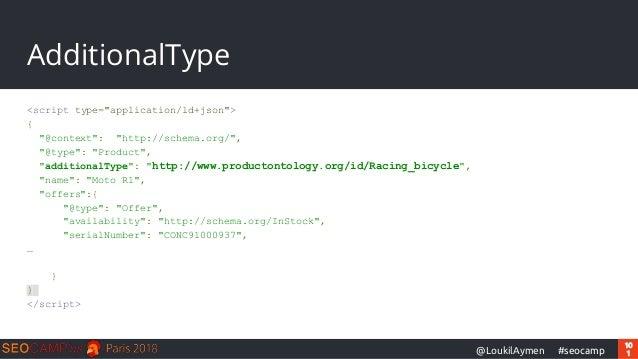 "10 1#seocamp@LoukilAymen AdditionalType <script type=""application/ld+json""> { ""@context"": ""http://schema.org/"", ""@type"": ""..."