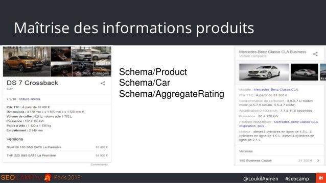 81#seocamp@LoukilAymen Maîtrise des informations produits Schema/Product Schema/Car Schema/AggregateRating