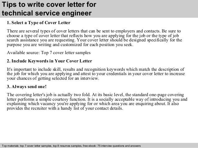 Technical service engineer cover letter
