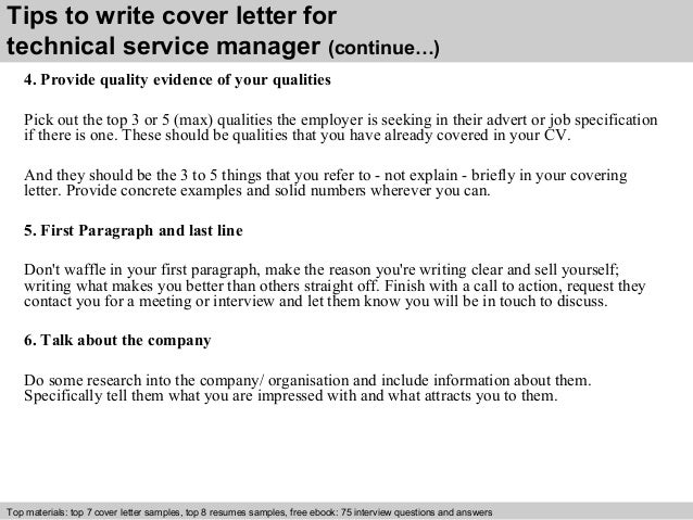 Technical service manager cover letter