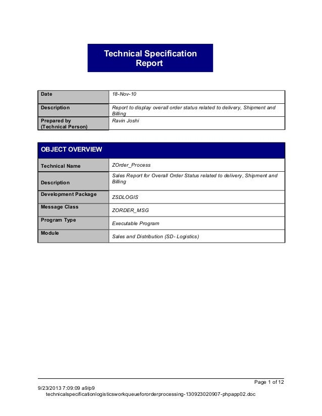 technical specification   sd logistics  order processing