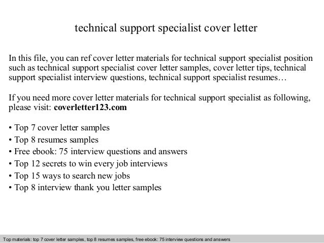 Technical Support Specialist Cover Letter - Technical support specialist cover letter