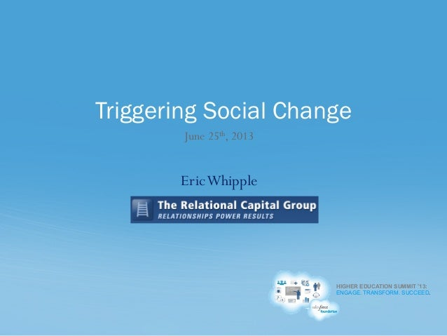 HIGHER EDUCATION SUMMIT '13: ENGAGE. TRANSFORM. SUCCEED. June 25th, 2013 EricWhipple Triggering Social Change