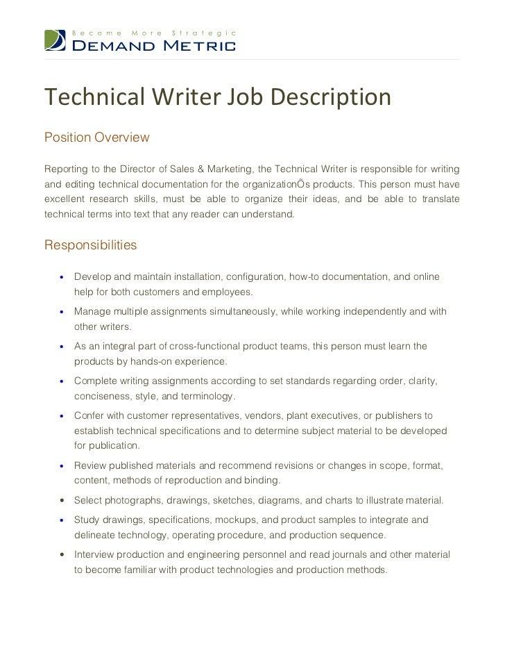 content writer job description