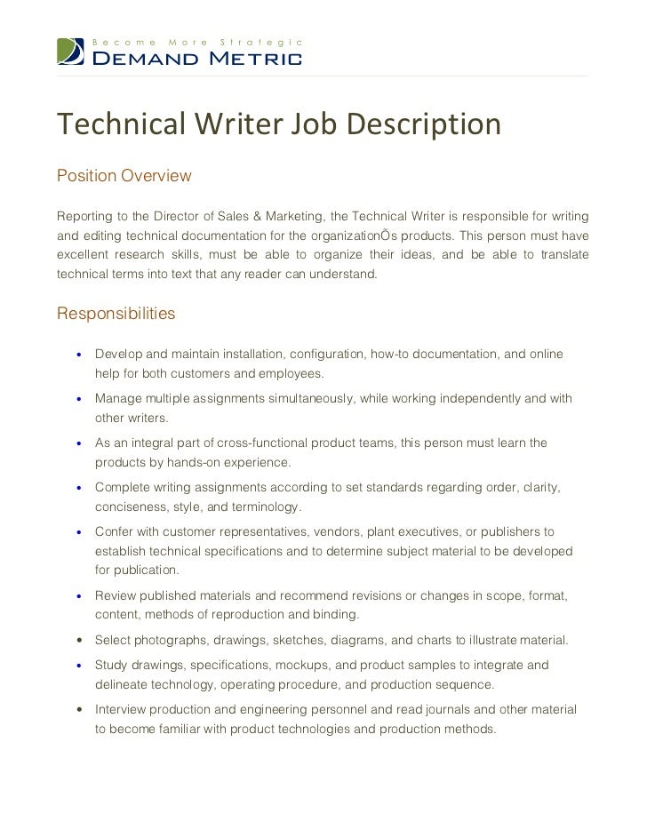 Superb Technical Writer Job DescriptionPosition OverviewReporting To The Director  Of Sales U0026 Marketing, The Technical Writer ...