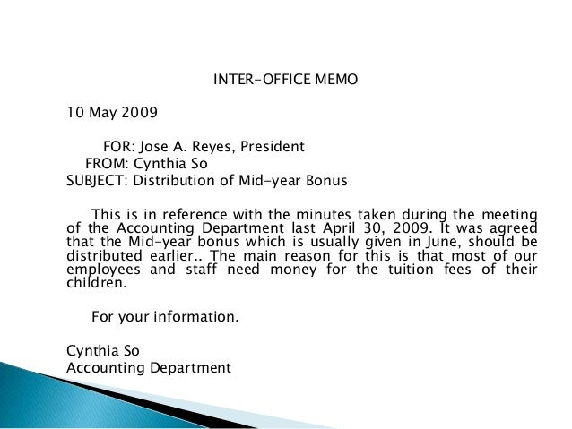 INTER OFFICE ...  Inter Office Communication Letter