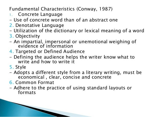 Technical writing for Concrete diction