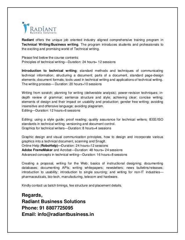 Radiant offers the unique job oriented industry aligned comprehensive training program in Technical Writing/Business writi...