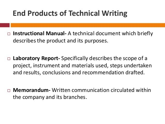 Technical writing nature and outputs