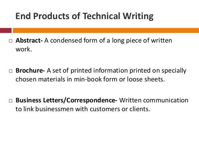 End products of technical writing