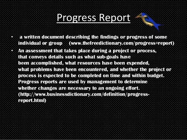 writing progress report