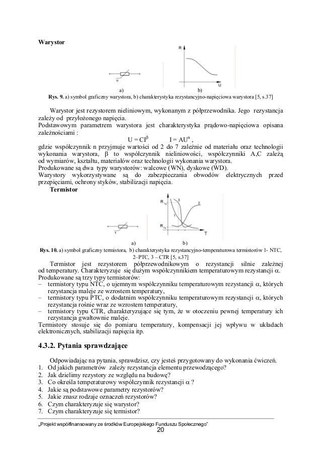 """""""Projekt współfinansowany ze środków Europejskiego Funduszu Społecznego"""" 20 Warystor a) b) Rys. 9. a) symbol graficzny war..."""
