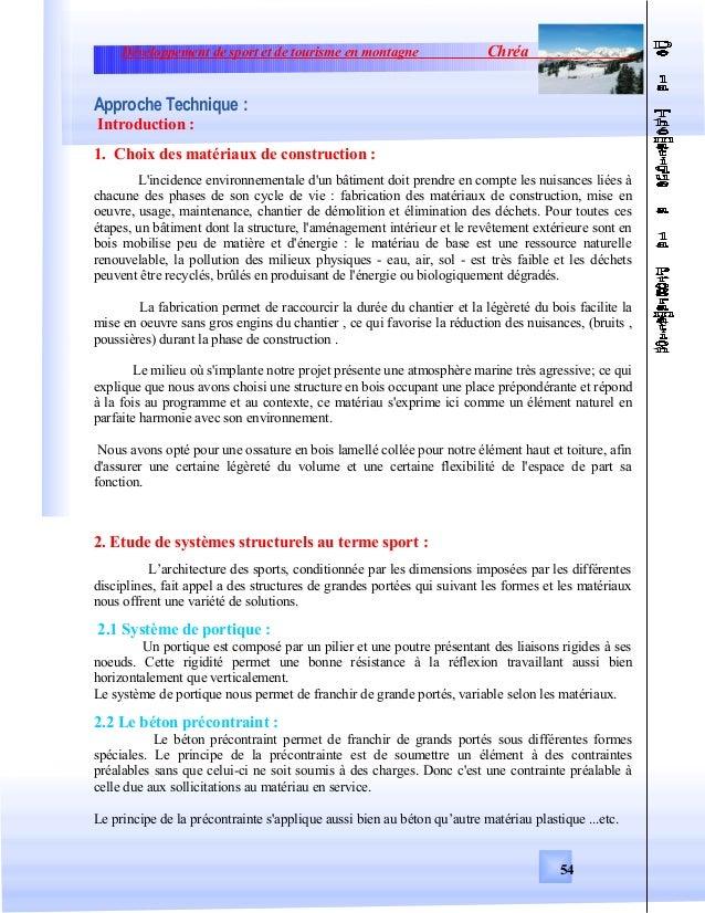 Développement de sport et de tourisme en montagne ChréaApproche Technique :Introduction :1. Choix des matériaux de constru...