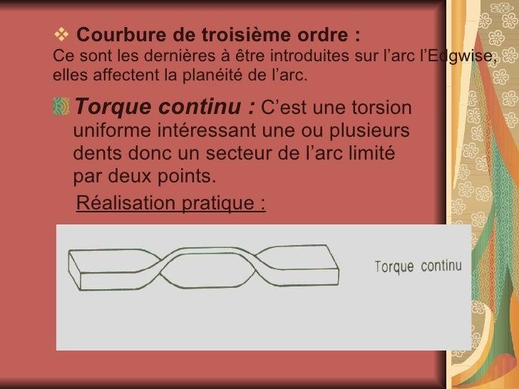 <ul><li>Courbure de troisième ordre : Ce sont les dernières à être introduites sur l'arc l'Edgwise, elles affectent la pla...